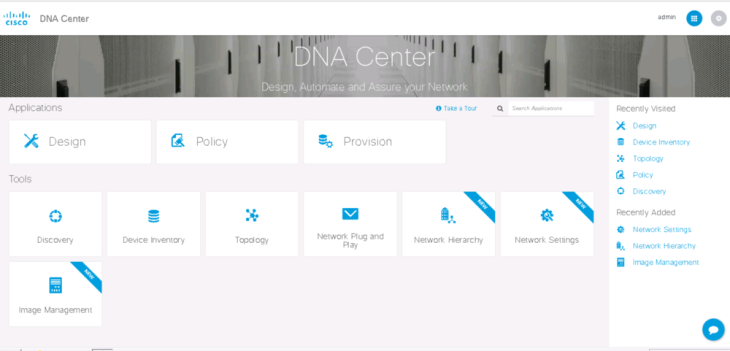 Home screen of DNA Center Here you can choose where to go into further. On the top row we see the new features as part of DNAC - Design, Policy and Provision The bottom row we see familar apps that are a part of APIC-EM