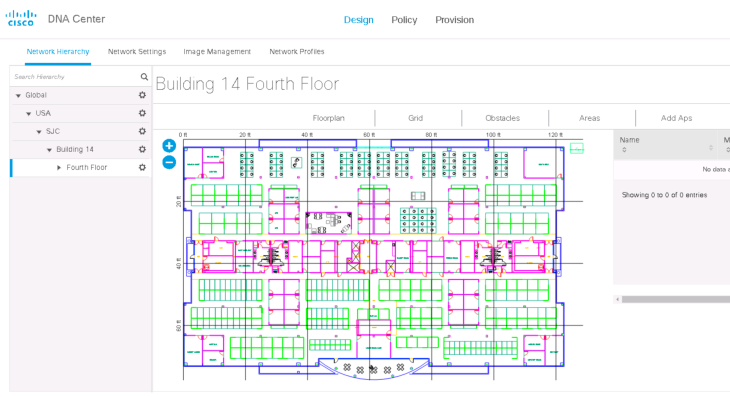 On a floor you can upload an image, cad drawing, etc. And once AP's are added into DNAC you can place them on the map