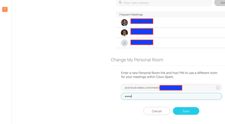 Enter your personal rooms URL, in my case I'm on a sales version of Cisco's webex cloud