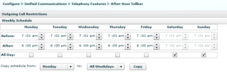 telephony-service  after-hours block pattern 1 1900.......  login timeout 60 clear 0:0  after-hours day mon 18:0 7:1  after-hours day tue 18:0 7:1  after-hours day wed 18:0 7:1  after-hours day thu 18:0 7:1  after-hours day fri 18:0 7:1  after-hours day sat 7:2 7:1  after-hours day sun 7:2 7:1  exit
